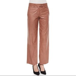 Helmut Lang Cropped Nude Wide Leg Leather Pants